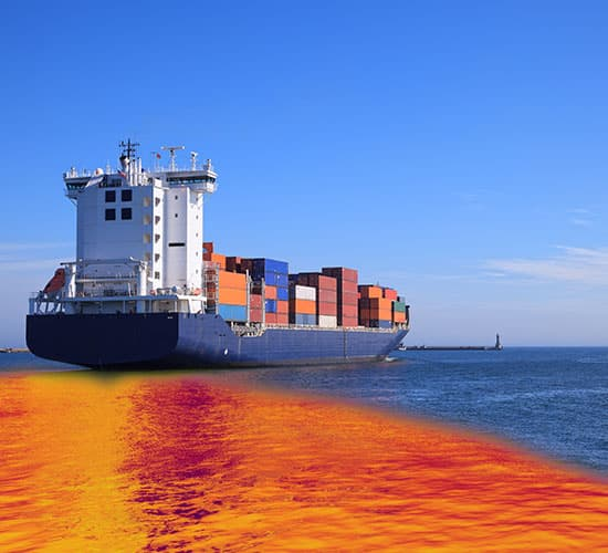 container ship with oil spill